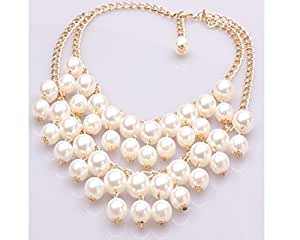 Glitz Exotic Collection Gold Faux Pearl Choker Necklace For Women/Girls