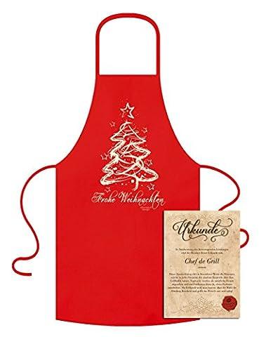 Geschenk-Set :: Frohe Weihnachten - Grill-Kochschürze & Urkunde als Weihnachtsgeschenk Farbe:rot (Kochen Ideen Für Weihnachtsfeier)