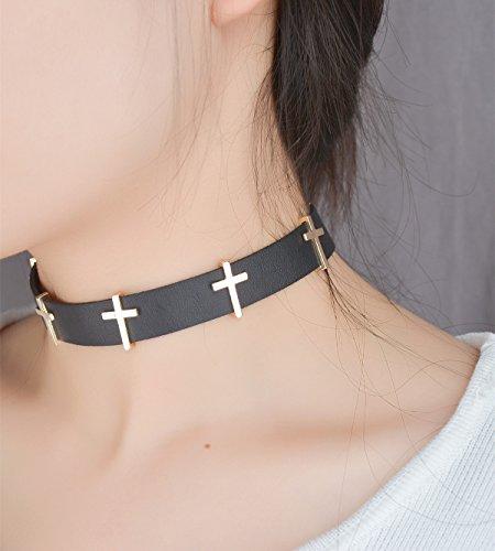 Negro Choker Collar, Gótico Punk Rock corbata Collar con Cruz para Mujer y niña