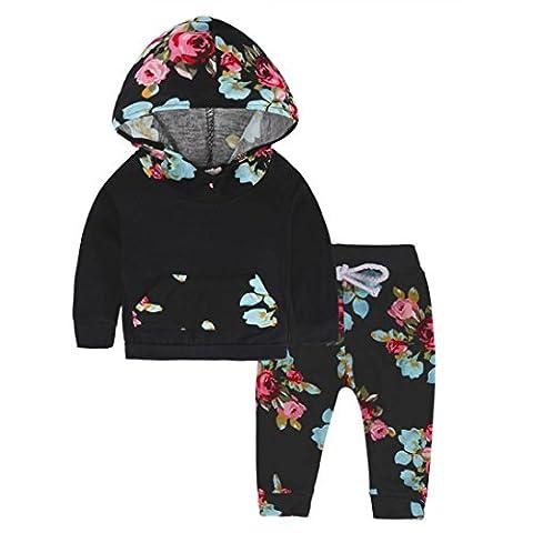LCLrute New Mode Neugeborene Säuglingsbabykleid-lange Hülsen-SatzHoodie Tops + Blumenhosen-Ausstattung (80)