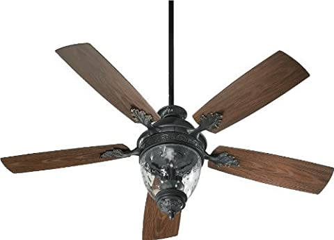 Quorum International 174525-995 Georgia 3-Light Patio Ceiling Fan with Clear Hammered Glass and Walnut ABS Blades, 52-Inch, Old World Finish by Quorum International