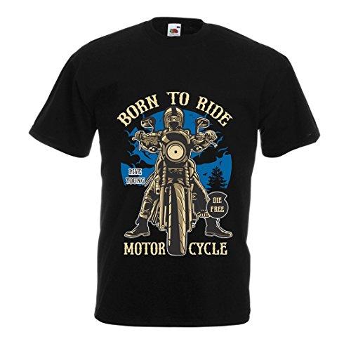 Männer T-Shirt Live Young - Die Free - geboren, Motorrad zu Fahren, Geschenkideen für Biker, inspirierende Slogans (Medium Schwarz Mehrfarben)