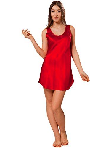 ElleSilk Trägerhemd Seide für Damen,Seiden-Nachtwäsche, reine Maulbeerseide Kirschrot