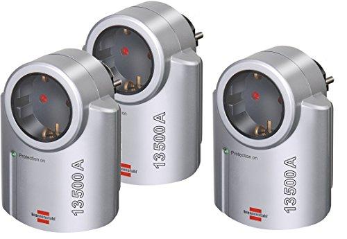 3er Pack Brennenstuhl Primera-Line, Steckdosenadapter mit Überspannungsschutz (Adapter als Blitzschutz für Elektrogeräte) Farbe: silber/schwarz