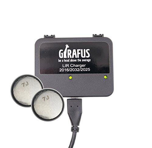 Girafus Wiederaufladbare LIR 2032/2016/2025 Knopfzellen USB Ladegerät – inklusive LIR2032 3.7V Batterien