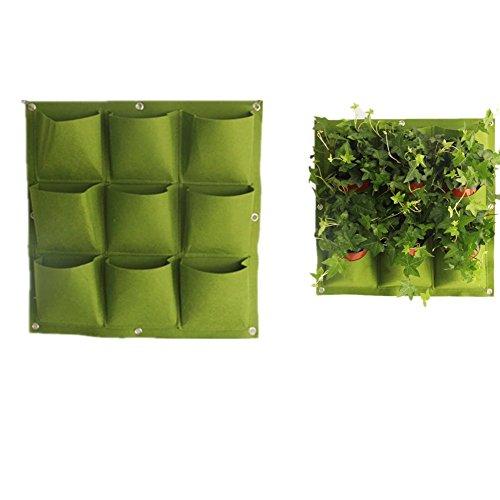 Chytaii Pflanztasche Wand Pflanzkissen hängende Filtz Pflanzentasche vertikal Begrünung für Balkon Terrasse Wandbegrünung Grün