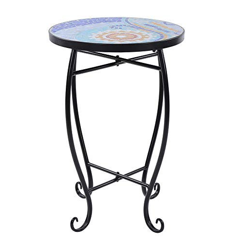 GOTOTO Tisch Mosaik Rund Keramik Garten Tisch Tisch Tisch Tischplatte Tischplatte Tischplatte Tischplatte Metall Rund Eisen Tisch Balkon 52 x 35 x 35 cm, blau und weiß -