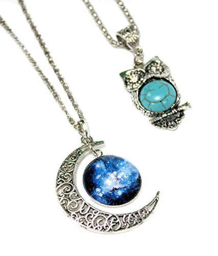 2 X Amuletos Light Turquoise. Media Luna Universo Azul + Búho Bohemia en turquesa y plata.