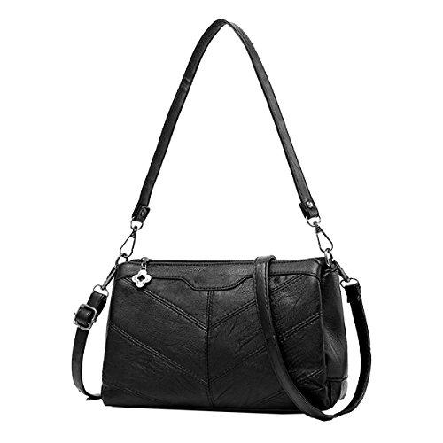 Yy.f Weiches Beutelpaket Die Neue Retro-Tasche Handtasche Schulter Umhängetasche Frau Paket Wilde Taschen. Multicolor Black