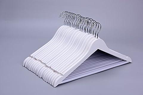 J.S. Hanger Cintres en bois massif en acier fini blanc avec crochets antirouille et barre antidérapante - 20 paquets