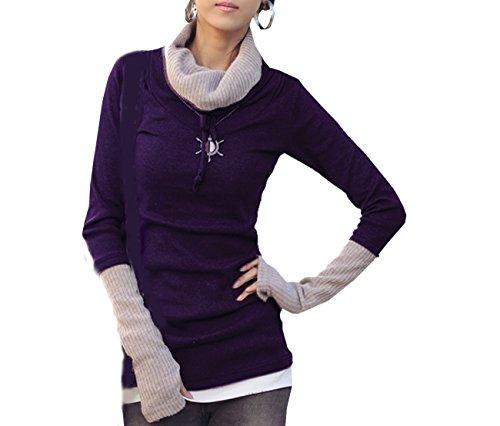 Mississhop Kd125 Japan Style Damen 2 in 1 Optik Strick Pullover Longshirt Sweatshirt Violett S/M - Haut-ebene Ballon