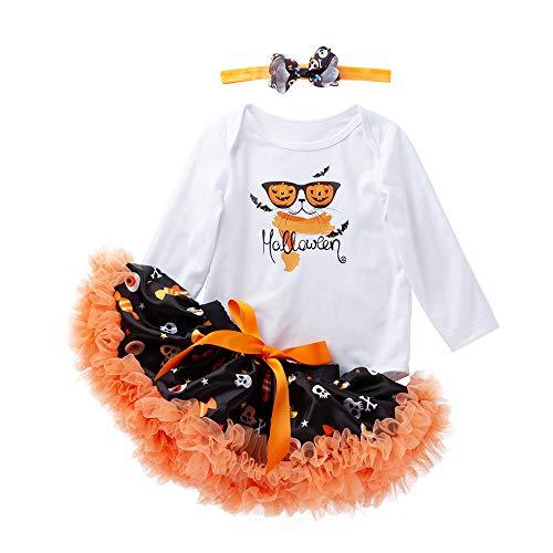 LEXUPE Neugeborene Baby Mädchen Halloween Strampler + Tutu Rock Overall Halloween Outfits(Weiß,66)