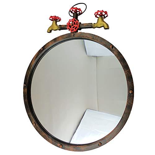 DH JINGZI - Schminkspiegel Industrieller Wind des Spiegels Retro Hahn an der Wand befestigter Badezimmersalon Runde Dekoration amerikanisches Schmiedeeisen