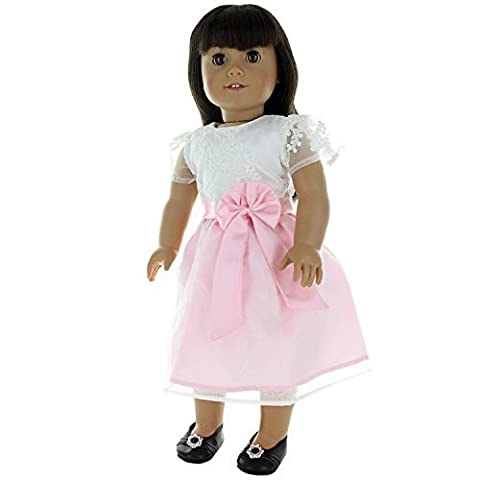 Doll Clothes - Beautiful White and Pink Crochet Dress Outfit Fits American Girl Doll, My Life Doll, Our Generation and other 18 inch Dolls by Pink Butterfly Closet