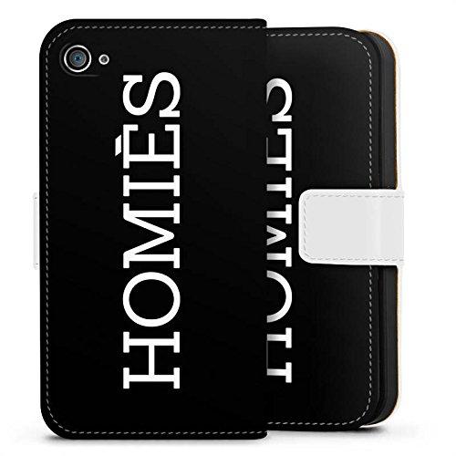 Apple iPhone X Silikon Hülle Case Schutzhülle Homies Schwarz-Weiß Statement Sideflip Tasche weiß