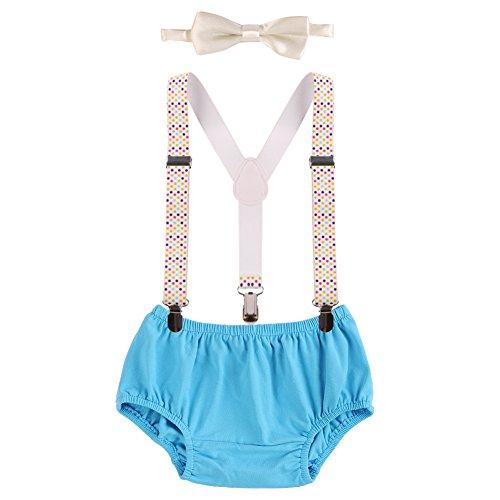 OBEEII Baby 1. / 2. Geburtstag Outfit Neugeborenen Kinder Bloomer Shorts + Fliege + Clip-on Hosenträger 3pcs Bekleidungssets für Foto-Shooting Kostüm Blaue & Bunte Punkte (Machen, Einfach Mardi-gras-kostüme)