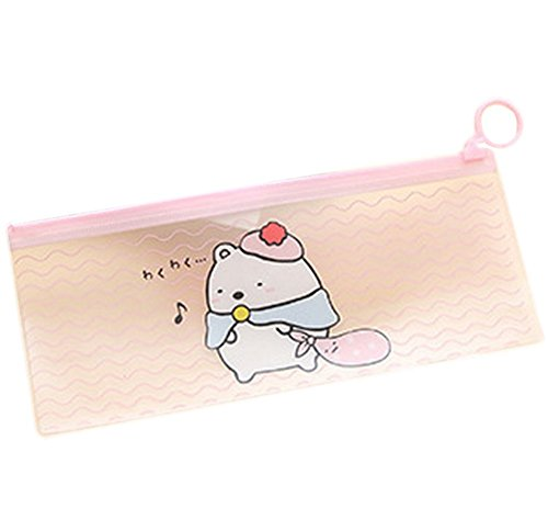 drawihi Bleistift Tasche Pen Case Kosmetiktasche Zero Wallet eine Reihe von Leinwand Reißverschluss Schreibwaren für Schule Büro Travel Geschenke Style Pink Bottom Bär Muster -