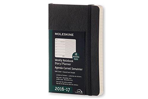 Moleskine Wochen Notizkalender, Taschenkalender, 18 Monate, 2016/2017, Pocket, A6, Soft Cover, schwarz (Notebook-design Moleskine)