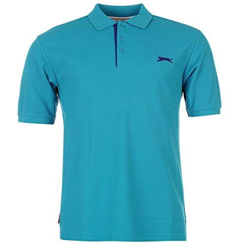 Slazenger Herren Polo Shirt Kurzarm Unifarben Polohemd Besticktes Logo Teal L (Tee Short Sleeve Bestickt)