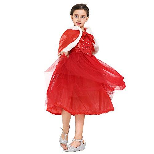 Imagen de katara 1681  disfraz de la reina de la nieve, vestido bordado con capa y la falda de tul para niñas de 7  8 años  color rojo alternativa