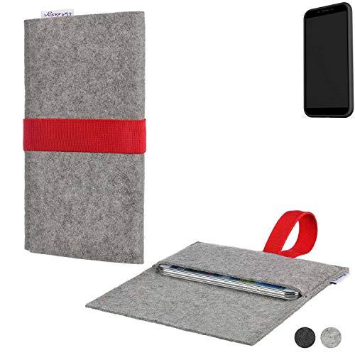 flat.design Handy Hülle Aveiro für Shift Shift6mq maßgeschneiderte Handytasche Filz Tasche Sleeve Pouch Grau rot