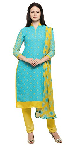 Rajnandini Light Blue And Yellow Cotton Jacquard Embroidered Unstitched Salwar Suit