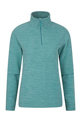 Mountain Warehouse Snowdon Damen-Fleecejacke - Antipill, Leichter Pullover, halber Reißverschluss, atmungsaktives Sweatshirt, schnelltrocknend - zum Wandern, Reisen, Frühling Mint DE 44 (EU 46)
