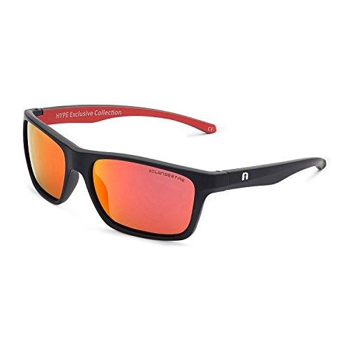 CLANDESTINE Square Matte Black Red by HYPE - Gafas de sol Polarizadas  Hombre   Mujer 1470fc7c767b