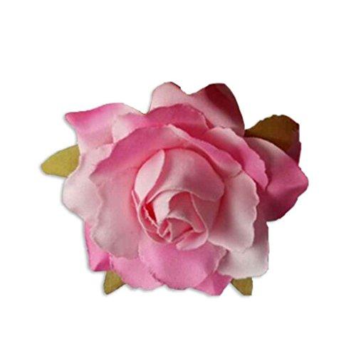 meisijia 10 stücke künstliche seide rose flower köpfe für diy headwear schuhe hochzeit dekoration Hell-Pink