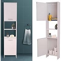 IDMarket - Meuble colonne salle de bain design LEA en bois blanc