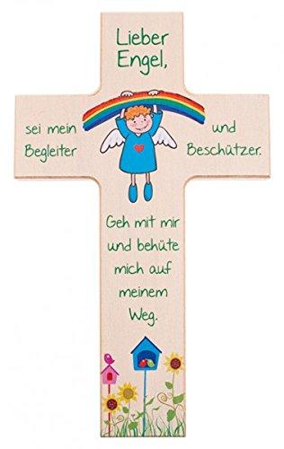 Kinder- Holzkreuz: 'Regenbogen-Engel' 15 cm
