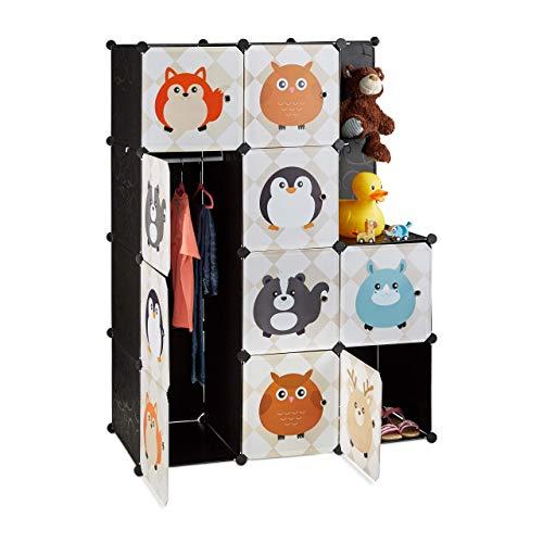 Relaxdays Steckregal Kinderzimmer, Tiermotive, Kunststoff Stecksystem, m. Türen, Kleiderschrank, m. Kleiderstange, bunt, Standard
