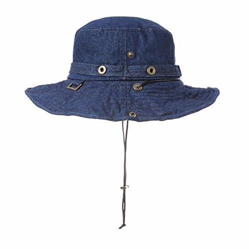 WITHMOONS Casquette de Baseball Boonie Bush Hats Wide Brim Denim Camouflage Side Snap KR2190 Bleu