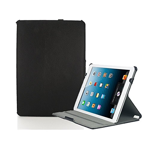 KHOMO® Black Leather Executive Case iPad Mini 1 - 2 - 3 - Professional look with adjustable stand and secure hand strap - Schwarzes Gehäuse mit doppeltem Schutz fur Apple iPad Mini, iPad Mini Retina, iPad Mini 3 (Ipad Mini Retina Case-portfolio)
