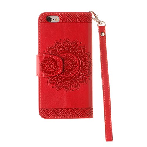 iPhone 7 Hülle,iPhone 7 Leder Hülle,TOYYM PU Lederhülle Leder Tasche Leder Case Cover Hülle Mandala Muster im Bookstyle Cover Schale mit Karten Slot Standfunktion Lanyard Ultra Dünn Slim Hülle Cover S Rot