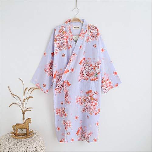 Lila Baumwoll-pyjamas (S·hl Damen - Bademantel, Doppelte Gaze Kleid, Baumwolle Pyjama,Lila,L)