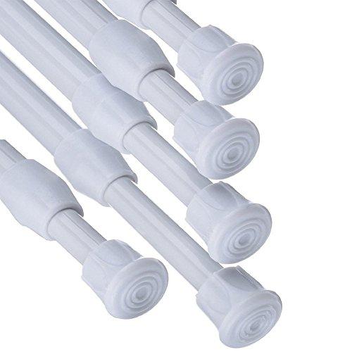 Fiting 5Stück Schrank Bars Spannungen Rod Spring Vorhang Rod für Heimwerker Projekte, ausziehbar (30cm, um 50,8cm) White#2 Dusche Vorhang-stab-hardware