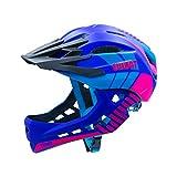 Sborter Kinder Fahrradhelm mit Kinnschutz Abnehmbar, Fullface Helm Kinder, Kinder Laufrad Helm für 2-10 Jahre,Passt für Kopfgröße 48-56, Lila M