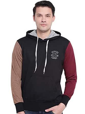 GHPC Black Plain Solid Sweatshirt Jacket Full Sleeves Slim Fit Hoodies for Men (TS913902_S)