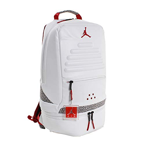 Nike Air Jordan Retro 3 III White Backpack Bookbag (One Size, White Fire Red) - Air Jordan 3 Retro