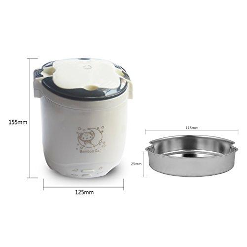 HJJL Mini reiskocher 1.2L 3-Cup Mini Elektrische Reiskocher für 1-2 Person Kleine Topf Tragbare Geeignet für Büro Schule Reise 220 V / 200 Watt mit EU stecker (Milk white) (200w Cup)