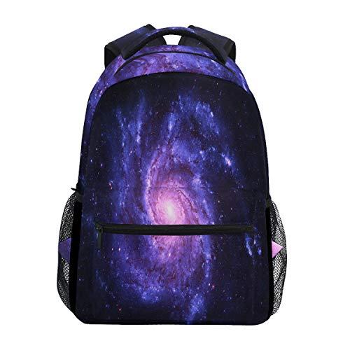 Wamika Spiral Galaxy Nebel Rucksack, wasserdicht, Schul-Schultertasche, Sport-Rucksack, lila Stern, Schwarz, Laptop-Tasche für Kinder Jungen Mädchen Damen Herren