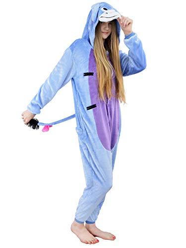 Unbekannt Damen Fleece Einteiler Nachtwäsche Pyjama Kostüm Kapuze Esel I-Aah blau Gr. M