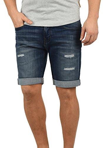 Denim Baumwolle Shorts (Indicode Hallow Herren Jeans-Shorts Kurze Hose Denim aus 100% Baumwolle Slim Fit Strech, Größe:M, Farbe:Dark Blue (855))