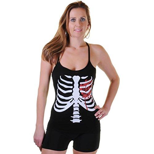 Skelett W Blutes Herz bedruckte Weste Top ()
