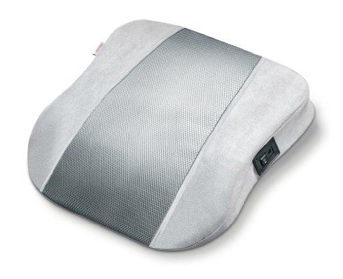Beurer MG140 - Almohada para masaje shiatsu, 4 cabezales rotatorios, funda extraíble y lavable, color silver