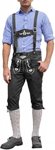 Trachten Kniebundhose Oktoberfest Jeans Hose kostüme mit Hosenträgern Schwarz, Größe:50 (Lederhosen Oktoberfest Kostüme)