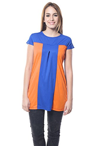 Navyata - Robe - Tunique - Sans Manche - Femme bleu Blue and Dark Orange S Blue and Dark Orange