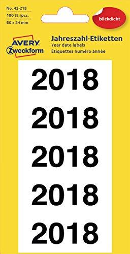 Avery Zweckform 43-218 Jahreszahlen 2018 (Ordnerrücken, 60 x 24 mm, 20 Blatt, 100 Etiketten) weiß