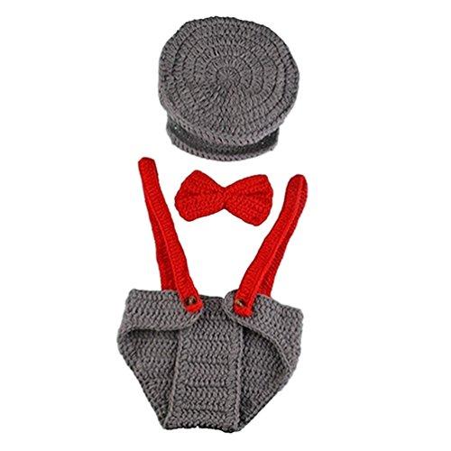 Bismarckbeer Accessoires de Photographie pour Bébés Nouveaux-Nés Garçons en Crochet Chapeau + Nœud Papillon + Salopette